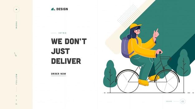 Nous ne livrons pas seulement la conception de la page de destination basée sur le concept avec une jeune fille à vélo.