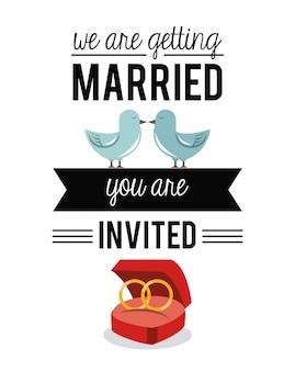 Nous nous marions avec des alliances et des pigeons