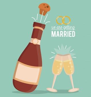 Nous nous marions avec une bouteille de champagne avec du liège et des lunettes