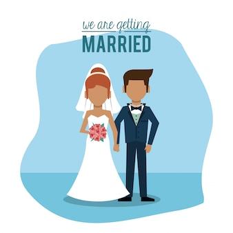 Nous nous marions avec un couple sans visage de juste marié