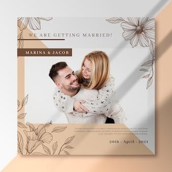Nous nous marions avec un flyer carré jeune couple