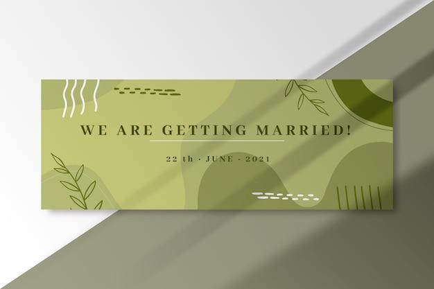 Nous nous marions modèle de bannière de nuances vertes