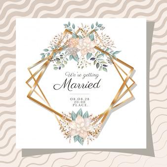 Nous nous marions texte dans un cadre doré avec des fleurs et des feuilles