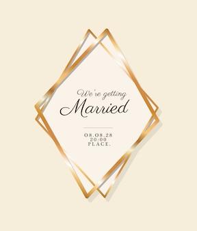 Nous nous marions texte dans un cadre doré d'invitation de mariage