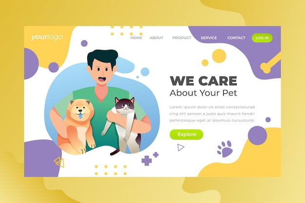 Nous prenons soin de votre animal de compagnienous prenons soin de votre animal de compagnie - page de destination vectorielle