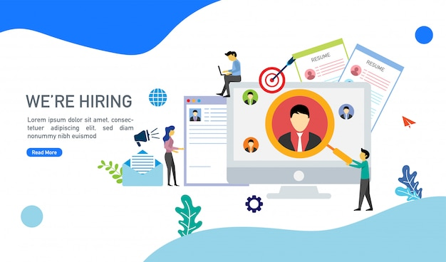 Nous recrutons un concept de recrutement en ligne avec illustration vectorielle de personnages minuscules.