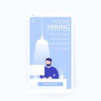 Nous recrutons des développeurs de logiciels, une bannière vectorielle pour les médias sociaux et les applications