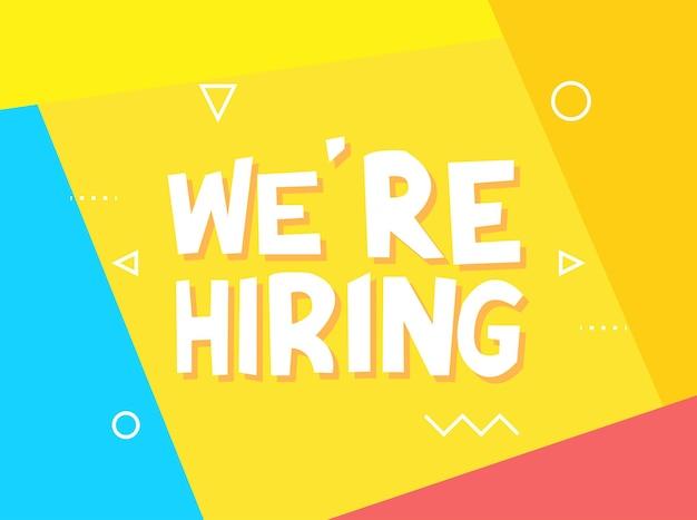Nous recrutons maintenant, rejoignez l'équipe. affiche publicitaire ou conception de bannière. abstrait jaune.