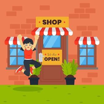 Nous sommes une boutique ouverte et un client sautant