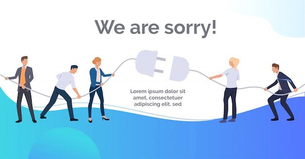 Nous sommes désolés bleu diapositive présentation