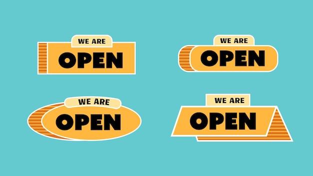 Nous sommes une étiquette de signe ouverte pour un magasin ou une boutique