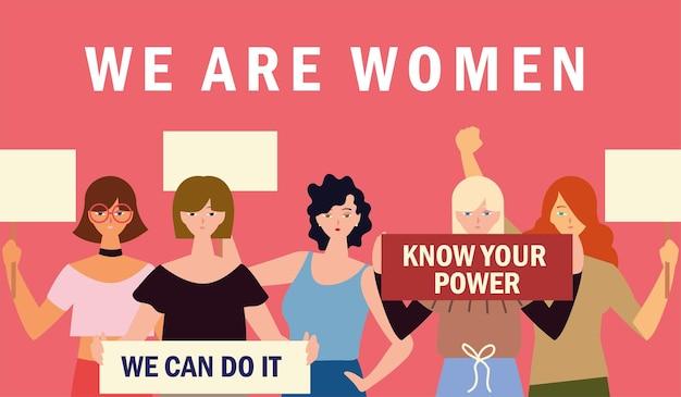 Nous sommes des femmes, groupe de jeunes personnages féminins avec illustration de pancarte