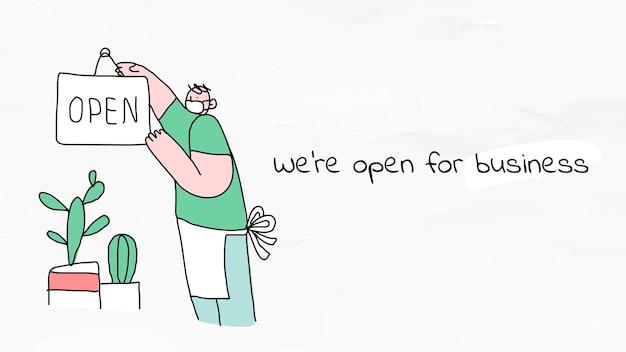 Nous sommes ouverts aux affaires, nouvelle affiche de doodle de style de vie normal