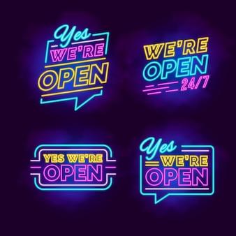 Nous sommes ouverts - collection d'enseigne au néon
