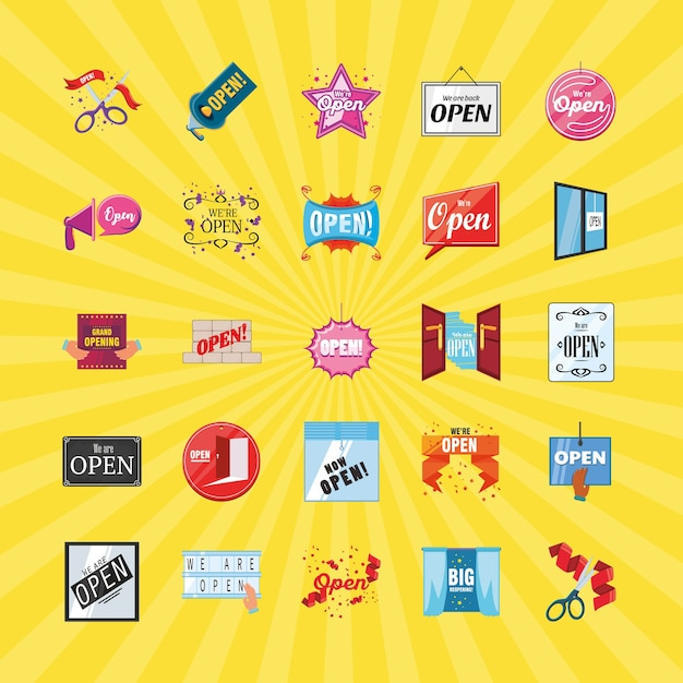 Nous sommes ouverts conception de groupe d'icônes de style détaillé du virus shopping et covid 19