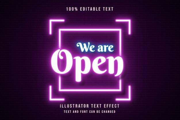 Nous sommes ouverts, effet de texte modifiable 3d dégradé rose style de texte néon orange