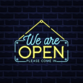 Nous sommes ouverts en néons bleus et jaunes