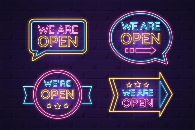 Nous sommes ouverts thème néon