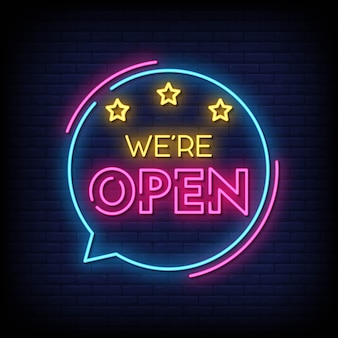 Nous sommes vecteur de texte de style de signes ouverts néon