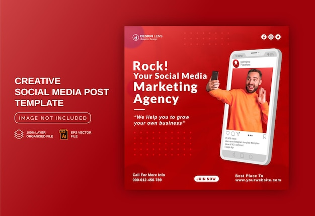 Nous sommes votre agence de marketing sur les réseaux sociaux modèle de publication de bannière publicitaire instagram sur les réseaux sociaux
