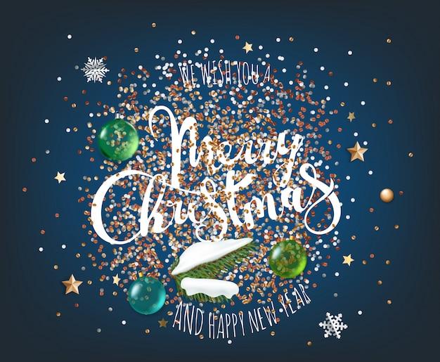 Nous vous souhaitons un joyeux noël et une bonne année. différents éléments sur fond violet