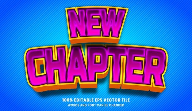 Nouveau chapitre effet de style de texte modifiable 3d