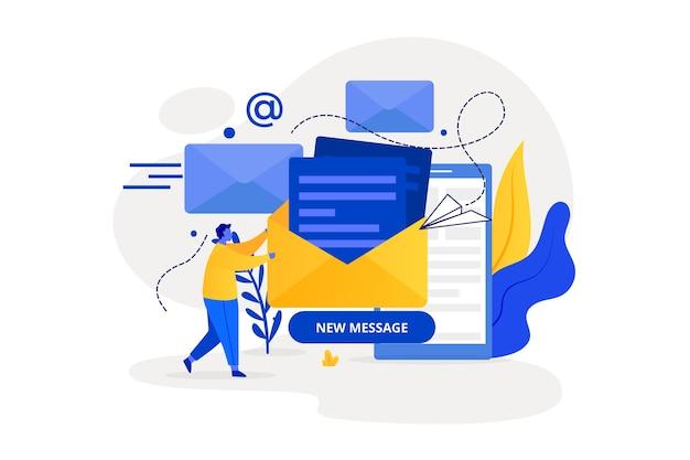 Nouveau concept de page de destination de message