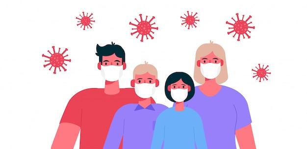 Nouveau coronavirus 2019-ncov. famille portant un masque médical de protection