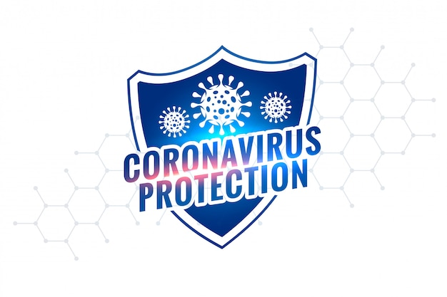 Nouveau design de symbole de bouclier de protection covid-19 coronavirus