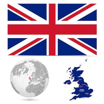 Nouveau drapeau détaillé avec le monde de la carte de l'angleterre