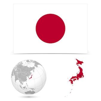 Nouveau drapeau détaillé avec le monde de la carte du japon