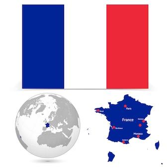 Nouveau drapeau détaillé avec le monde de la carte de france
