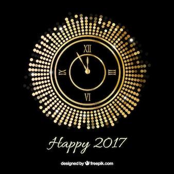 Nouveau fond d'année avec une horloge dorée