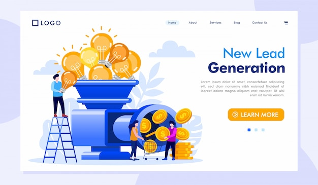 Nouveau lead generation landing page site web illustration vecteur
