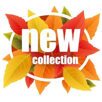 Nouveau lettrage de collection inscription créative avec des feuilles d'automne colorées dans un cadre circulaire.