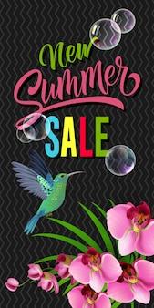 Nouveau lettrage de vente d'été avec le colibri et l'orchidée.