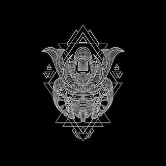 Nouveau masque de samouraï style géométrie sacrée