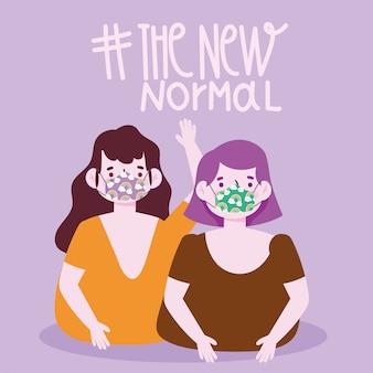 Nouveau mode de vie normal, deux femmes portant des masques drôles vector illustration