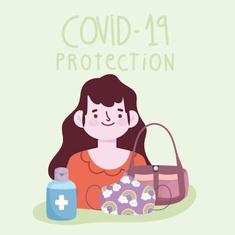 Nouveau mode de vie normal, femme avec masque de sac à main et illustration vectorielle de gel désinfecter bouteille