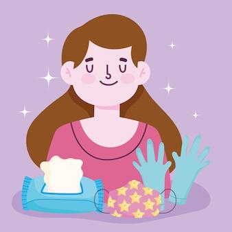Nouveau mode de vie normal, fille avec des gants de masque et illustration vectorielle de papier de soie