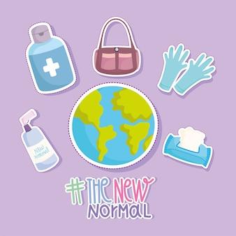 Nouveau mode de vie normal, illustration vectorielle de gants de monde gel alcool désinfecter