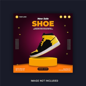 Nouveau modèle de bannière instagram pour publication de chaussures de vente sur les médias sociaux