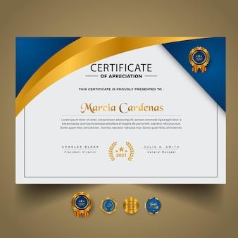 Nouveau modèle de certificat d'or élégant