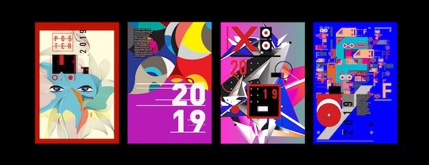 Nouveau modèle de conception d'affiche et de couverture pour 2019