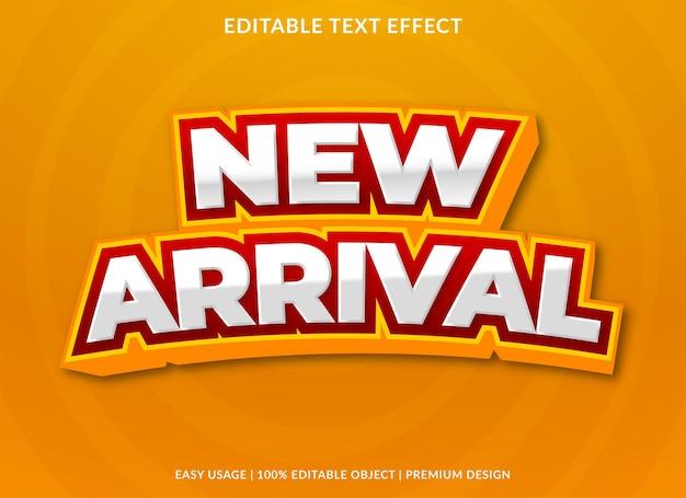 Nouveau modèle de fond d'effet de texte d'arrivée vecteur premium
