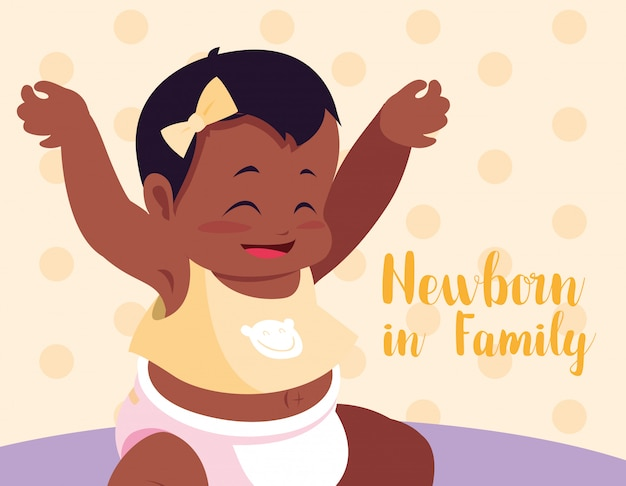 Nouveau-né en carte de famille avec bébé afro