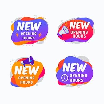 Nouveau pack de signes d'heures d'ouverture