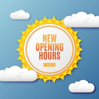 Nouveau signe d'heures d'ouverture dégradé