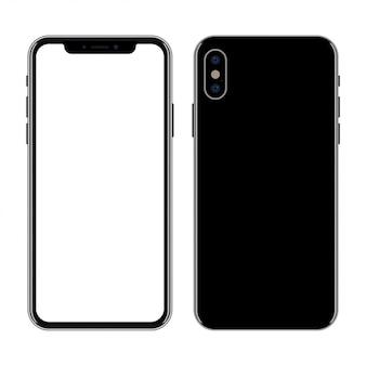 Nouveau smartphone avant et arrière isolé