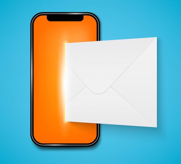 Nouveau sms ou notification par e-mail sur un téléphone mobile.